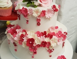 2-tier stacked cake with very pretty flowers - 2 week daytime