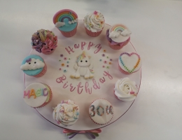 Decorated cupcake platter - magical unicorn