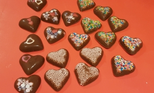 Chocolate sprinkle hearts